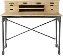 Solid mango wood and metal writing desk W 117cm
