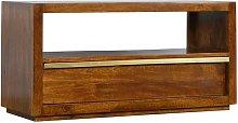 Solid Mango Wood & Brass Drawer Chestnut Media
