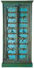 Solid mango wood Indian wardrobe in blue with