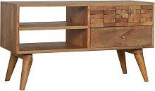 Solid Mango Wood Tile Carved TV Media Cabinet Unit