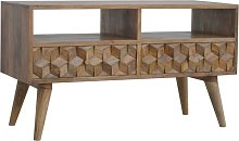 Solid Mango Wood TV Media Unit Cabinet - Tile