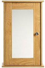 Solid Mirrored Wall Cabinet Oak Veneer Furniture