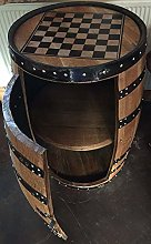Solid Oak Barrel Drinks Cabinet with Chess Board