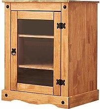 Solid Pine Wood 1 Glass Door Hi Fi Cabinet with 2