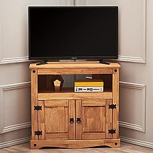 Solid Pine Wood Corner TV Stand Cabinet Mexican