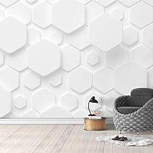 Solid White Geometric Figures Custom 3D Wall Mural