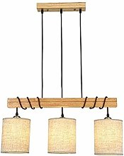 Solid Wood Chandelier, Nordic Linen Fabric Ceiling
