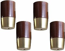 Solid Wood Copper Sleeve Sofa Legs,4pcs Wooden