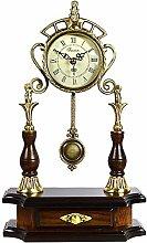 Solid Wood Mantle Clock Antique Metal Mantel Desk