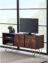 Solid Wood TV Media Plasma Unit Stand 2 Doors 2