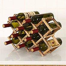 Solid Wood Wine Rack, Foldable Household Wine