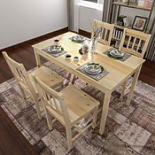 Solid Wooden Dining Table and 4 Chairs Set Dining