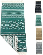 SOLTAKO Small Kilim Rug Runner with Fringes and