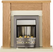 Solus Fireplace Suite in Oak with Helios Electric