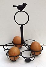 Song Bird Brown Egg Holder 6 Egg Metal Storage