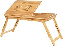 SONGMICS Laptop Desk, Adjustable Bamboo Bed Table
