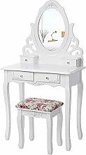 SONGMICS Princess Dressing Table Stool Set and 360