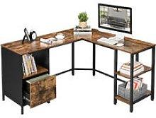 Songmics - VASAGLE Corner Desk, L-Shaped Computer