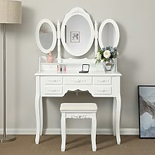 Songmics Wall-Fixed Luxurious 3 mirrors Dressing