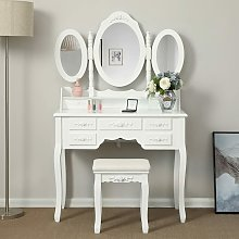 Songmics - Wall-Fixed Luxurious 3 mirrors Dressing