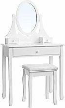 Songmics white Dressing Table Set 137 x 80 x 40 cm