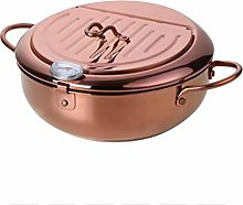 Sonline Steel Frying Pot with a Thermometer and a
