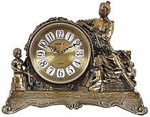 Sooiy Antique mantel clock, Resin Retro silence