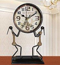Sooiy Table clock European antique wrought iron