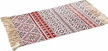 SOONHUA Retro Decorative Cotton Area Rug, Hand