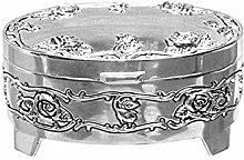 Sophia Oval Silverplated Trinket Box - Antique Rose