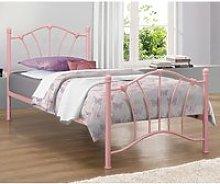 Sophia Steel Single Bed In Pink