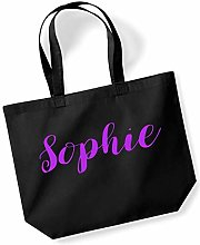 Sophie Personalised Shopping Tote in Black Colour
