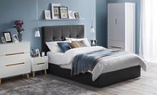 Sorrento Slate Grey Fabric Bed Frame - 4ft6 Double
