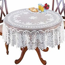 Sourcemall Lace Floral Tablecloth, White (70""