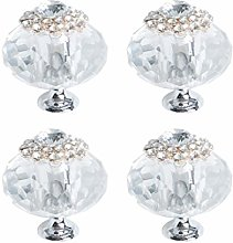 sourcing map 4pcs, 40mm Dia Crystal Knobs Zinc