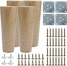 sourcing map 6 Inch Round Wood Furniture Legs Sofa