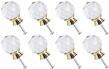 sourcing map 8pcs, 30mm Dia Crystal Knobs Round