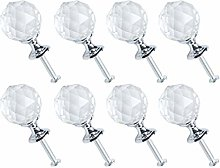 sourcing map 8pcs Crystal Knobs Aluminum Alloy