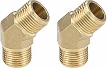 sourcing map Brass Pipe Fitting - 45 Degree Elbow
