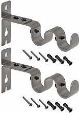 sourcing map Curtain Rod Bracket Iron Double