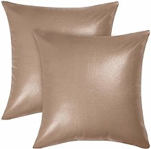 sourcing map Pack of 2 Square Faux Leather Throw