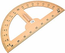 sourcing map Protractor Semicircle Wooden Drawing