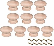 sourcing map Round Wood Knobs,10Pcs 45mm Dia