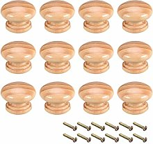 sourcing map Round Wood Knobs,12Pcs 35mm Dia