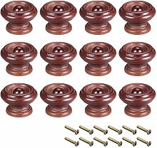 sourcing map Round Wood Knobs,12Pcs 37mm Dia