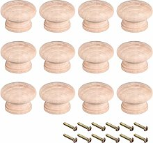 sourcing map Round Wood Knobs,12Pcs 44mm Dia