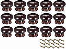 sourcing map Round Wood Knobs,15Pcs 34mm Dia