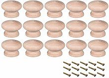 sourcing map Round Wood Knobs,15Pcs 45mm Dia