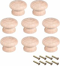 sourcing map Round Wood Knobs,8Pcs 44mm Dia