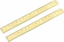 sourcing map Straight Ruler 150mm 6 Inch Brass